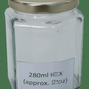 Hex Honey Jar 280ml (approx 12oz) Gold Twist Lid