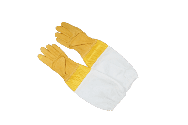 Yellow ventilated leather bee gloves